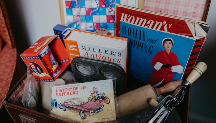 Antique books and games at Blenheim Care HomeInside bedroom care home