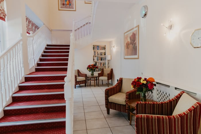 Reception area Tilford care home Surrey