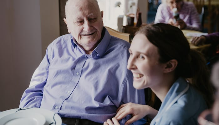 Resident and care worker Edgehill care home Swindon